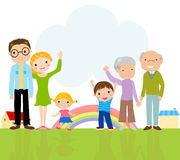 Cute big family. Illustration of a big family Royalty Free Stock Photography