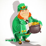 Cute big fat men Leprechauns guard the pot of gold Royalty Free Stock Image