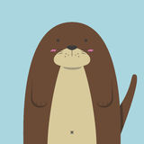 Cute big fat otter. On light blue background Stock Images