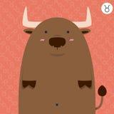 Cute big fat Taurus zodiac cartoon Stock Photos