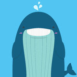 Cute big fat whale smile and wink Royalty Free Stock Photography