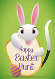 Cute Bilby Hugging Easter Egg and Greeting Sign, Vector Illustration Royalty Free Stock Photography