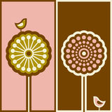 Cute bird and arabesque tree. Vector illustration Royalty Free Stock Photo