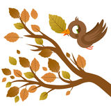 Cute bird in Autumn flying and tree branch with dry leaves Stock Photo