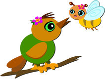 Cute Bird and Bee are Friends Stock Images