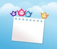 Cute bird with blank paper sheet Stock Photos