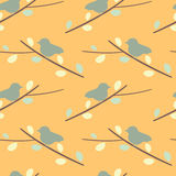 Cute bird on branch silhouette seamless pattern background illustration Royalty Free Stock Image