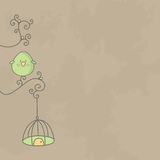 Cute bird on a branch of tree with its cage. Hanging. Vector EPS10 Stock Photo