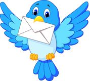 Cute bird cartoon delivering letter. Illustration of Cute bird cartoon delivering letter Stock Image