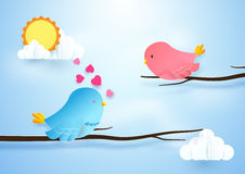 Cute bird couple on branches. Love concept. Paper art and craft Royalty Free Stock Photography