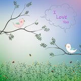 Cute bird couple fall in love in the garden for romantic Valentine`s day,greeting card,kid product,t-shirt,print or textile vector illustration