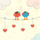 Cute bird couple for Happy Valentine's Day celebration. Royalty Free Stock Photos