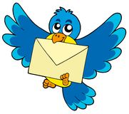 Cute bird with envelope. Vector illustration Royalty Free Stock Images