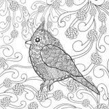 Cute bird in fantasy flower garden Royalty Free Stock Photos