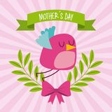 Cute bird flying bow branches mothers day striped background. Icon vector ilustration Vector Illustration
