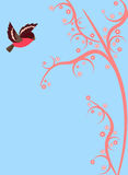 Cute bird flying on pink branch. Cute little bird flying on pink branch of magical tree. Vector spring background Stock Photo