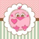 Cute bird girl on background stock illustration