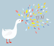 Cute bird goose with message Royalty Free Stock Photography
