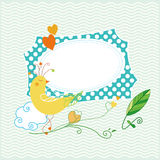 Cute bird greeting card Royalty Free Stock Images