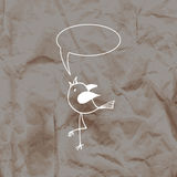 Cute bird in the hand-drawn style on a kraft paper background. Stock Photography