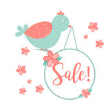 Cute bird with hanging wobler and Sale inscription Royalty Free Stock Images