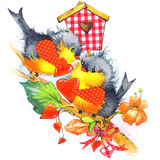 Cute bird and heart illustration watercolor Stock Photography