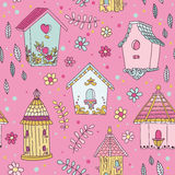 Cute Bird House Background Stock Photos