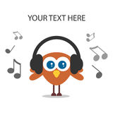 Cute bird listening to music Stock Photos