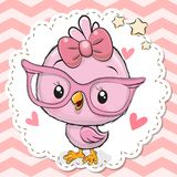 Cute Bird in pink eyeglasses. Cute cartoon Bird in pink eyeglasses with a bow stock illustration