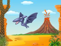 Cute bird pterodactyl flying with volcano background Stock Image
