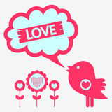 Cute bird romantic illustration Stock Images