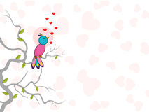 Cute bird singing with hearts. . Stock Images