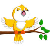 Cute bird singing stock illustration