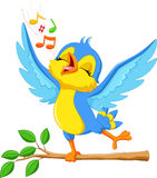 Cute bird singing stock illustration