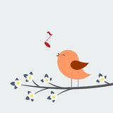 Cute bird sings Royalty Free Stock Photos