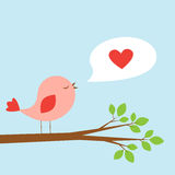 Cute bird and speech bubble with heart Stock Photos