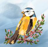 Cute bird and spring season and flowers on tree, cute bird, cute bird birds, spring , animals, nature, illustration , drawing canv vector illustration
