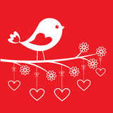 Cute bird - stylish card for Valentine`s day Royalty Free Stock Photo