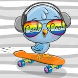 Cute Bird with sun glasses on a skateboard vector illustration