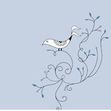 Cute bird and swirl card design royalty free stock images