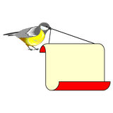A cute bird (titmouse) with a big blank paper in its beak Stock Image