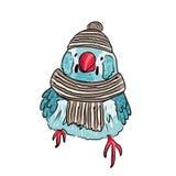 cute bird warm dressed in winter season Stock Photo