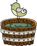 Cute bird with wooden tub for a bath. Scalable vectorial image representing a cute bird with wooden tub for a bath, isolated on white royalty free illustration