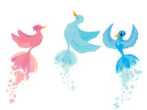 Cute birds. Beautiful cute birds, illustration background Royalty Free Stock Images