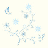 Cute birds. On branches with leaves stock illustration