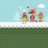 Cute birds. Christmas and new year's illustration Stock Photography