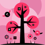 Cute birds. Flying by the tree royalty free illustration