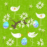 Cute birds baby shower invitation card design. Seamless pattern Royalty Free Stock Photo