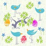 Cute birds baby shower invitation card design. Seamless pattern Stock Photo