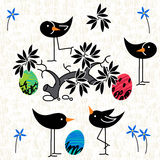 Cute birds baby shower invitation card design. Seamless pattern Royalty Free Stock Image
